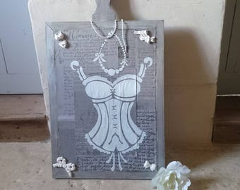 Large sign / painting / collage double-sided shabby slate