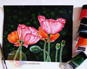 "Poppy Painting, Poppies, Flower Painting, 11""x14"", Acrylic on watercolor paper, original hand painted artwork, home wall decor, gift for her"