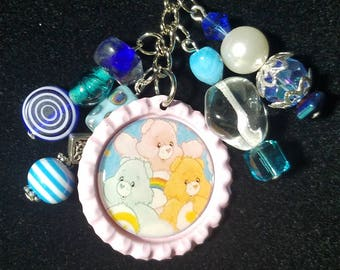 Carebears beaded keychain