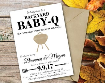 Baby Shower Invitation | Baby-Q invite | Baby Shower | Co-ed Baby Shower | Backyard BBQ Shower | Bun in the Oven | Rustic Baby Shower Invite
