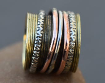 Meditation brass spinner rings | Banjara style Indian ring | Liner Handmade spinning band | Bohemian jewelry | Tribal gift jewelry band R236