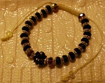 Beautiful Glass & Crystal-beaded bracelet; handmade, shamballa, beadweaving, cute, casual-wear, party-wear