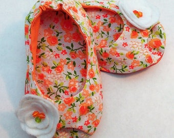Open toe orange Liberty with little flower beaded shoes