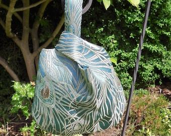 Japanese Knot Bag, Evening Bag, Japanese Brocade, Dancing Peacock Feathers, Prom Bag, Bridesmaid Bag