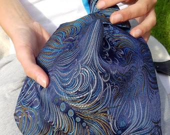 Japanese Knot Bag, Blue Evening Bag, Evening Bag, Japanese Brocade, Dancing Peacock Feathers