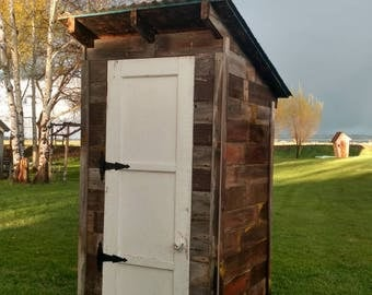 Garden Shed - Outhouse style- Reclaimed materials - Vintage inspired - Shabby Chic - Window - White Door