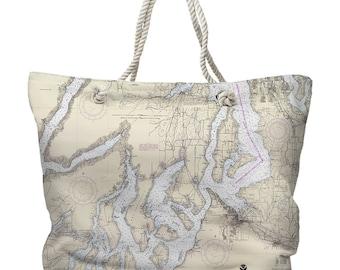 WA: Puget Sound Southern, WA Nautical Chart Tote Bag