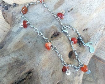 Celtic, elven, ethnic anklet, stainless steel and carnelian