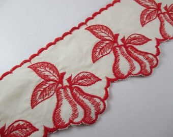Lace Ribbon, fireplace, shelf, red pear pattern, red color.
