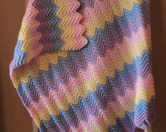 Baby Ripple, Chevron Afghan, Crochet Blanket, Throw  Pastel  READY TO SHIP