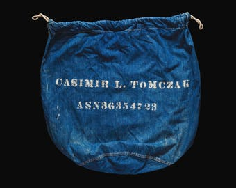Vintage WWII Navy Stenciled Denim Bag