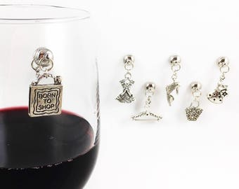 6 Magnetic Wine Glass Charms, Stemless Fashion Wine Charms, Shopping Wine Charms, Gift for Shopaholic, 21st Birthday Gift, Wine Lover Gift