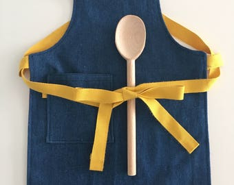 Hipster Kids apron, Denim, red and mustard for trendy cool children and toddlers