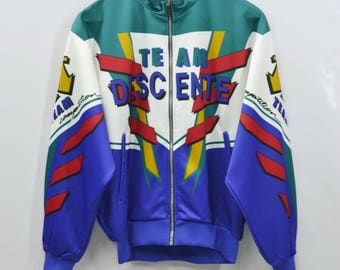 DESCENTE Track Top Vintage 90's Descente Team Competition Spell Out Colorblock Made In Japan Track Top Zipper Jacket Sweater Size Jaspo M