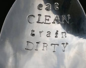 Hand stamped teaspoon,  free personalization,  eating healthy,  Hangry, eat clean train dirty