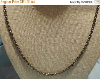 ON SALE exceptional antique high end heavy sterling silver chain necklace 56 inches
