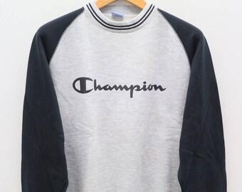 Vintage CHAMPION Big Logo Sportswear Gray Pullover Sweater Sweatshirt Size M