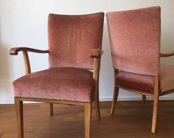Mid century 50s Velvet armchair (2 pieces available)