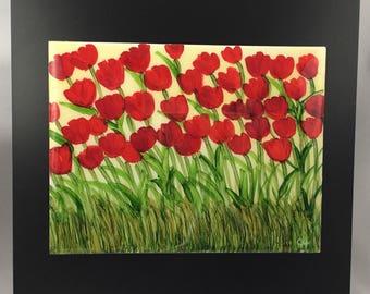Red Tulips on 8x6 Ceramic Tile - wood frame - Alcohol Ink