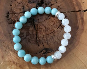 Beaded Bracelet, Amazonite and Moonstone yoga bracelet, mala bracelet, stacking bracelet, soothing and calming beads