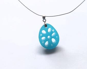 Raindrop lake blue resin pendant