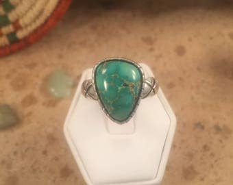 Vintage Navajo Turquoise & Sterling Silver Ring Size 8.5 Signed