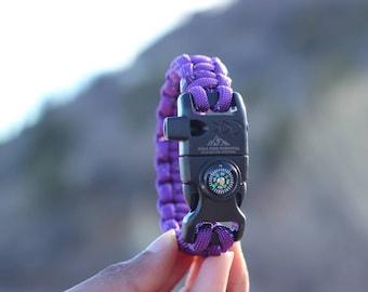 Reflective Purple Paracord Survival Bracelet custom