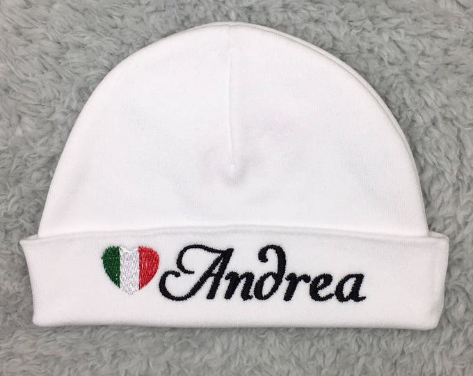 Personalized newborn hat with Italian flag - micro preemie hat, custom preemie hat, - Italian baby hat, baby shower gift, Italian baby gift