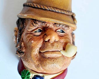 "Vintage Bossons Chalkware Character Head ""Paddy"" © 1969 / Man With Pipe Wall Hanging / Plaster of Paris Character Head / Made in England"