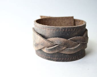 Brown Braided Leather Cuff:  Rustic  Brown Leather Bracelet // Unisex Adjustable Leather Cuff