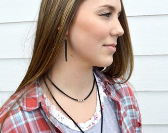 Thin Leather Wrap Necklace // Black Leather Lariat Necklace // Long Leather Wrap Necklace