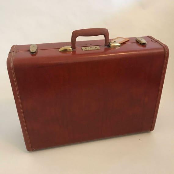 Vintage Brown Samsonite Suitcase with Key Vintage Luggage