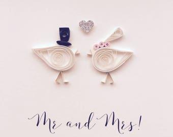 Mr & Mrs - Little Lovebirds - Handmade Quilled Wedding Card
