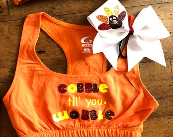 Thanksgiving sports bra and bow sets