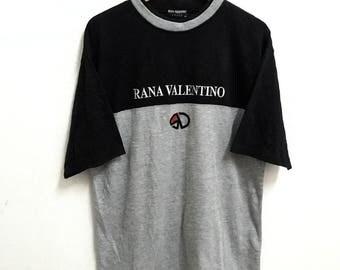 RARE!!! Rana Valentino Italy Big Logo Embroidery Crew Neck Raglan Colour T-Shirts M Size