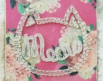 Meow string art * cat string art * cat lovers * cat decor * string art * girls room * floral kitty