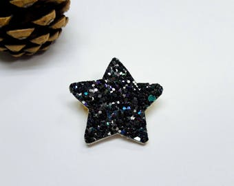 """Brooch """"Star Spangled with multicolored reflections"""""""
