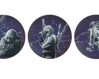 Father's day star wars, boba fett, yoda, r2d2 stencil art on vinyl record