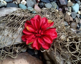 Moana, Tropical, Holiday Red Silk Flower hair clip