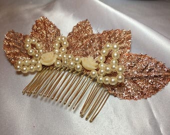 Gold bronze comb, Ivory pearls, gold coloured comb, hair accessories, bridal comb, wedding hair, leaf detail