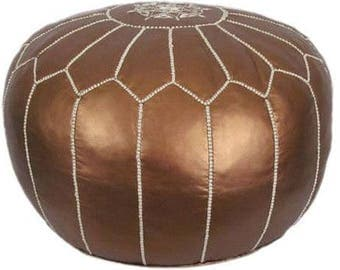 SALE **Bronze Moroccan Leather Pouf**