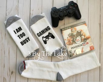"""Video Gaming ....""""I Am Too Busy Gaming"""" Playstation Video Game Funny Socks  Men or Women's Funny Gaming Socks"""