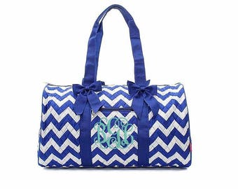 Royal Blue Chevron Quilted duffle bag, Monogrammed duffel bag Personalized Tote Travel Tote Cheer Gym Weekend Weekender