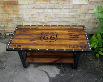 Rustic coffee table, Industrial coffee table, Industrial chic, Entertainment center, tv console, TV unit, Modern, Shabby chic, Route 66