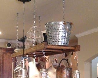 Pot racks etsy kitchen island farmhouse ladder pot rack oversized pot and pan holder wood stained pot mozeypictures Images