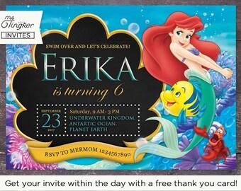Little Mermaid Birthday Invitation | Princess Ariel Invitation | FREE thank you card