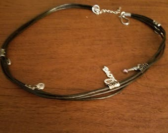 Leather charm necklace and bracelet