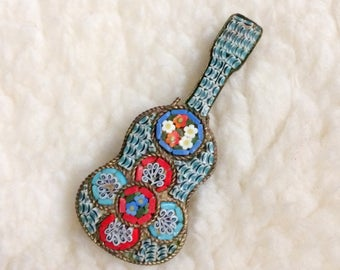 Italian glass micromosaic guitar brooch c. 1870-1900