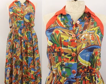 Novelty print halter sundress with pockets and chunky buttons by 'Chem' | 1990s vintage plus size dress