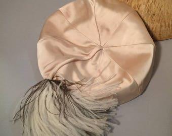 vintage hat / 1960s hat / vintage 1960s hat / 60s hat / vintage 60s hat / ivory hat / bridal hat /pom hat